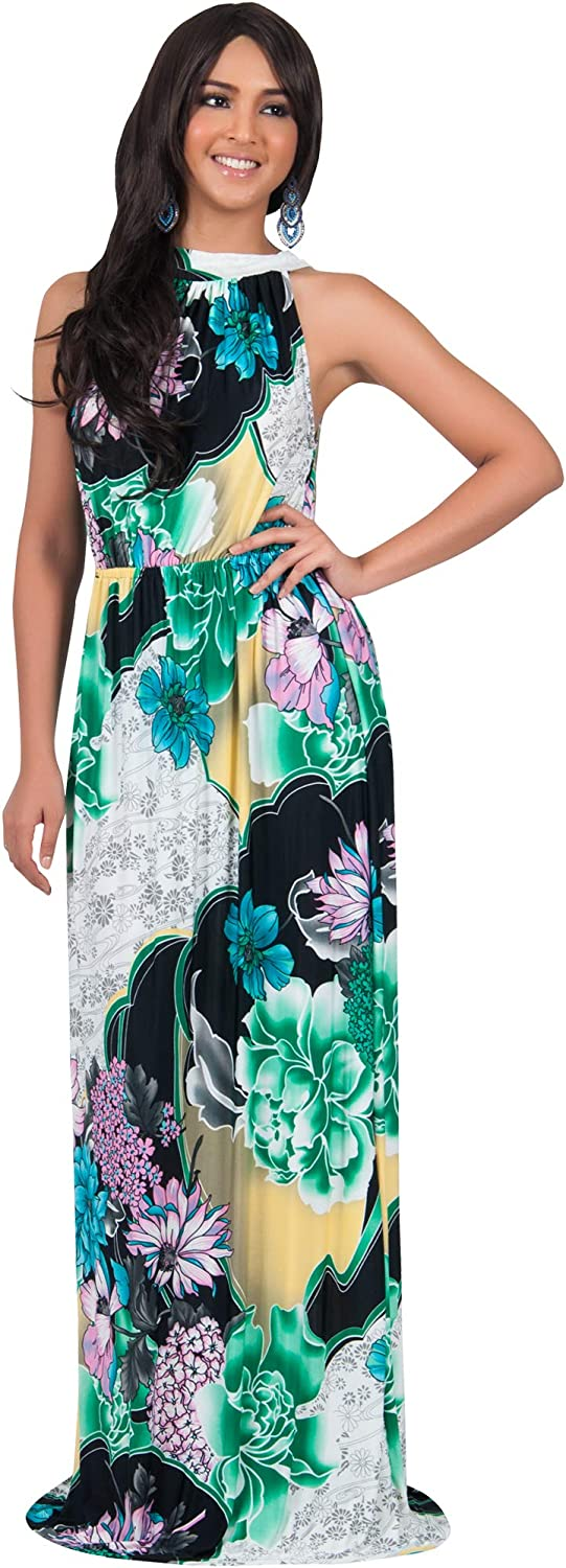 KOH KOH Womens Long Summer Flowy Sexy Sleeveless Casual Floral Gown Maxi Dress