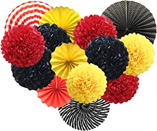 Red Yellow Black Hanging Paper Party Decorations, Round Paper Fans Set Paper Pom Poms Flowers for Mickey Mouse Theme Firetruck Birthday Wedding Graduation Baby Shower