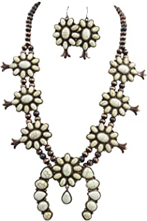 Southwestern White Faux Turquoise Squash Blossom Statement Necklace & Earrings Set