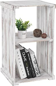 MyGift 2-Tier Shabby Whitewashed Wood Crate Design Storage Shelf Organizer