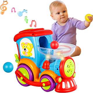 HISTOYE Toddler Toys Train for Boy Girl Age 1 2 3+, Baby Educational Drop and Go Toy Train with 3 Popper Ball, Music and Light Baby Toys for Preschool Learning, Developmental Toys for 1 2 3 Year Olds
