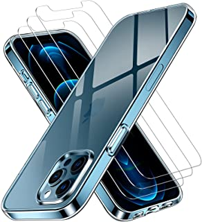 ivoler Fodral Kompatibel med iPhone 12 Pro Max 6,7 tum + 3 Pack Tempered Glass Screen Protector, TPU silikon stötsäkert te...