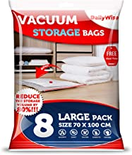 DailyWise Extra Large Vacuum Storage Bags for Clothes, Space Saver Bags for Comforters, Blankets and Pillows, Large 8 Pack (27 x 39 inches)