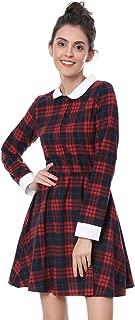 Allegra K Women's Contrast Peter Pan Collar Plaid Long Sleeve Aline Skater Dress