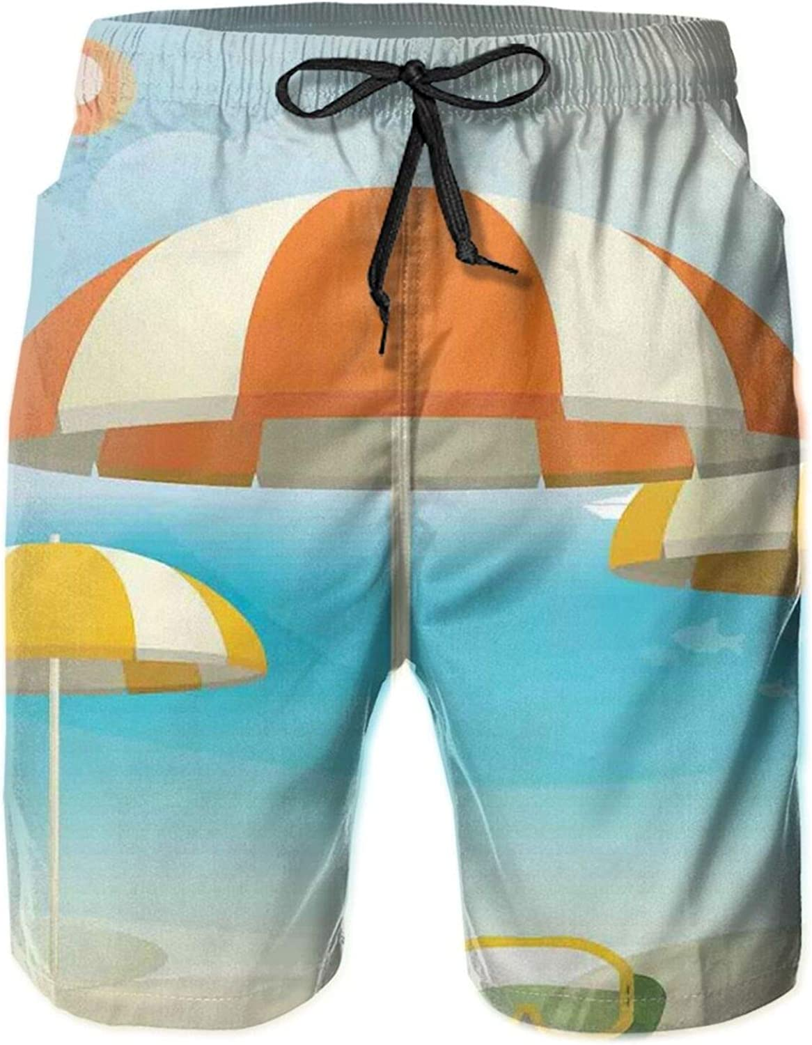 Umbrellas On The Coast Summer Season Theme with Plane Birds and Fish Seaside Vacation Swimming Trunks for Men Beach Shorts Casual Style,L