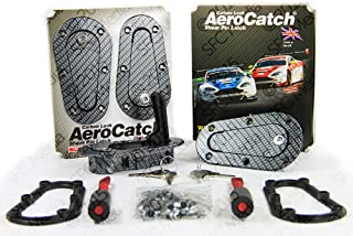 AeroCatch Plus Flush Locking Hood Latch and Pin Kit - Black Carbon Fiber Look - Now includes Molded Fixing Plates - Part # 120-3100