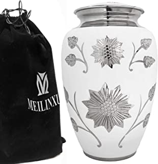 (White) - Funeral Urn by Meilinxu - Cremation Urns for Human Ashes Adult and Memorial - Hand Made in Brass and Hand Engrav...