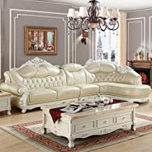 Sofas Leather Sectional Corner Sofa with Functional Armrest Solid Carved Sofa