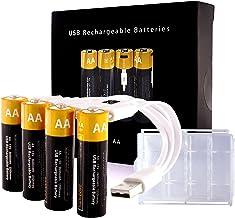 Lithium AA Akkus Wiederaufladbare Batterien, Kamnnor 1,5V 2600mWh Rechargeable Batterien, 1.5H-Schnellladung, mit 4-in-1 U...