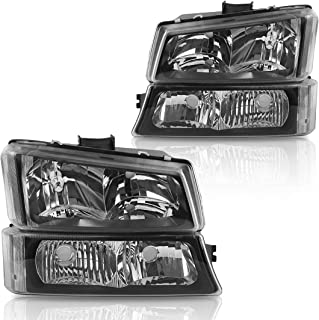 Headlight Assembly kit for 2003-2006 Chevy Avalanche / 2003-2007 Chevrolet Silverado 1500 2500 3500 1500HD 2500HD Pickup Headlamp Replacement, Black Housing with Bumper Lamp