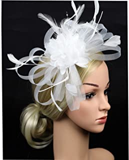 MISOWN Women s Flower Mesh Ribbons Feathers Fascinators Derby Headband and  A Clip Wedding Cocktail Tea Party 12fc7ab09381