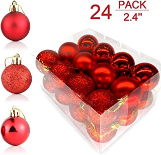 Ationgle Christmas Balls Ornaments for Xmas Tree - 60mm/2.36'' Shatterproof Pendants Plastic Christmas Tree Ball Set for Holiday Wedding Party Decoration