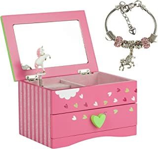 Amitié Lane Unicorn Jewelry Box for Girls & Kids Unicorn Jewelry for Girls - Two Unicorn Gifts for Girls Including Fuschia Pink and Green Unicorn Music Box and Unicorn Charm Bracelet