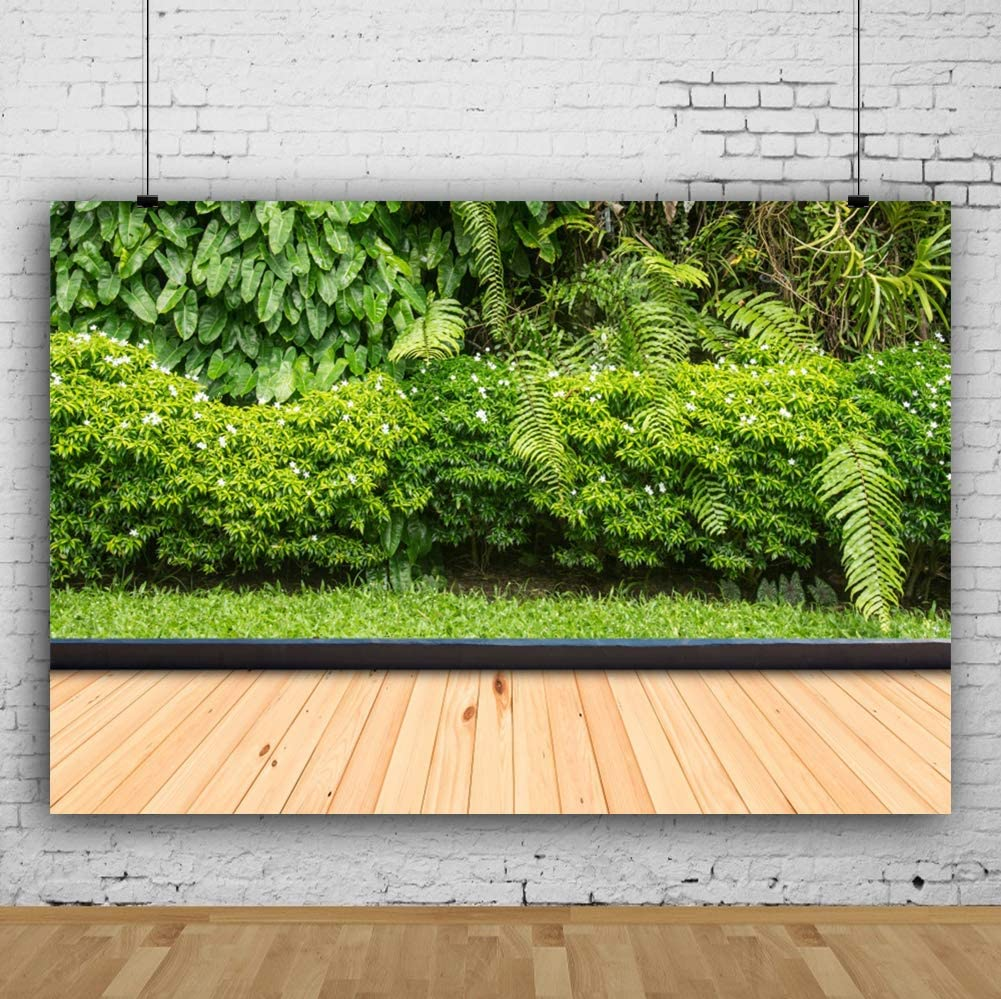 CSFOTO 10x7ft Spring Scenery Backdrop Green Plants Background for Photography Themed Party Backdrop Natural Scenery Wooden Floor Interior Decor Adults Portraits Photo Wallpaper