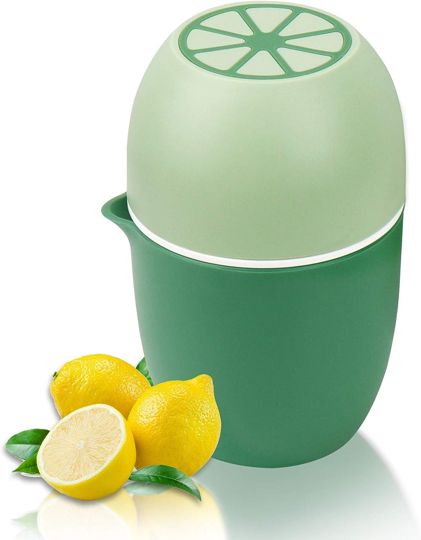 Lechin Exprimidor manual con diseño único en forma de limón, dos formas de uso para diferentes frutas (Verde)