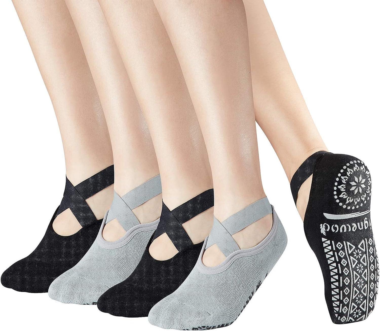 Yoga Pilate Barre Non Skid Anti Slip Socks,4 Pairs Grip Socks with strap Sticky for women Ladies UK 2.5-8