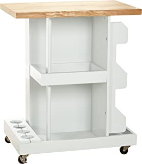 Target Marketing Systems Hampton Collection Contemporary Rolling Kitchen Cart with Two Open Racks and a Four Bottle Wine Holder, White/Natural Finish