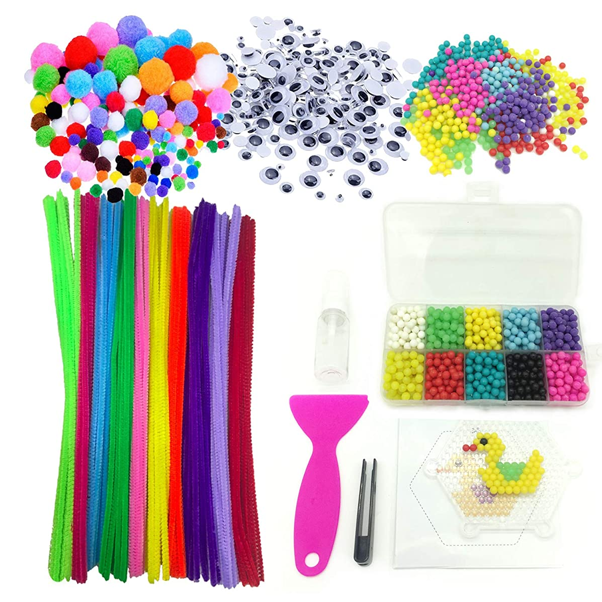 Wartoon Pipe Cleaners Crafts Set, Pipe Cleaners Chenille Stem and Pompoms with Googly Wiggle Eyes and Beads Complete Set for Aquabeads and Beados Craft DIY Art Supplies, 2500 Pieces