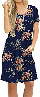 AUSELILY Women's Short Sleeve Pleated Loose Swing Casual Dress with Pockets Knee Length (L, H Rose Navy2)