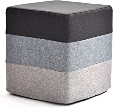 Yxsdd Footstool Pouffe Change Shoes Ottoman Makeup Stool Removable Linen Cover Living Room Bedroom Five Colour (Color : Gray)