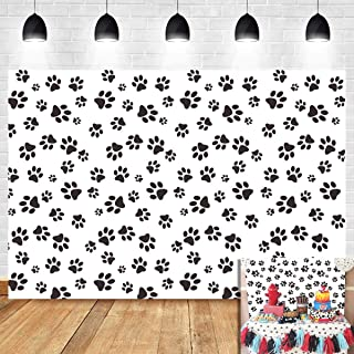 Paw Patrol Themed Photography Backdrop Kids Birthday Party Supplies Puppy Dog Paw Print Photo Background Newborn Baby Shower Vinyl 5x3ft Pet Treat Party Decoration Candy Table Photo Booth Studio Props