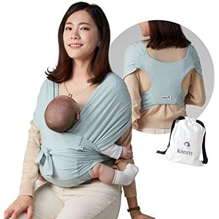 Konny Baby Carrier | Ultra-Lightweight, Hassle-Free Baby Wrap Sling | Newborns, Infants to 44 lbs Toddlers | Soft and Breathable Fabric | Sensible Sleep Solution (Mint, L)
