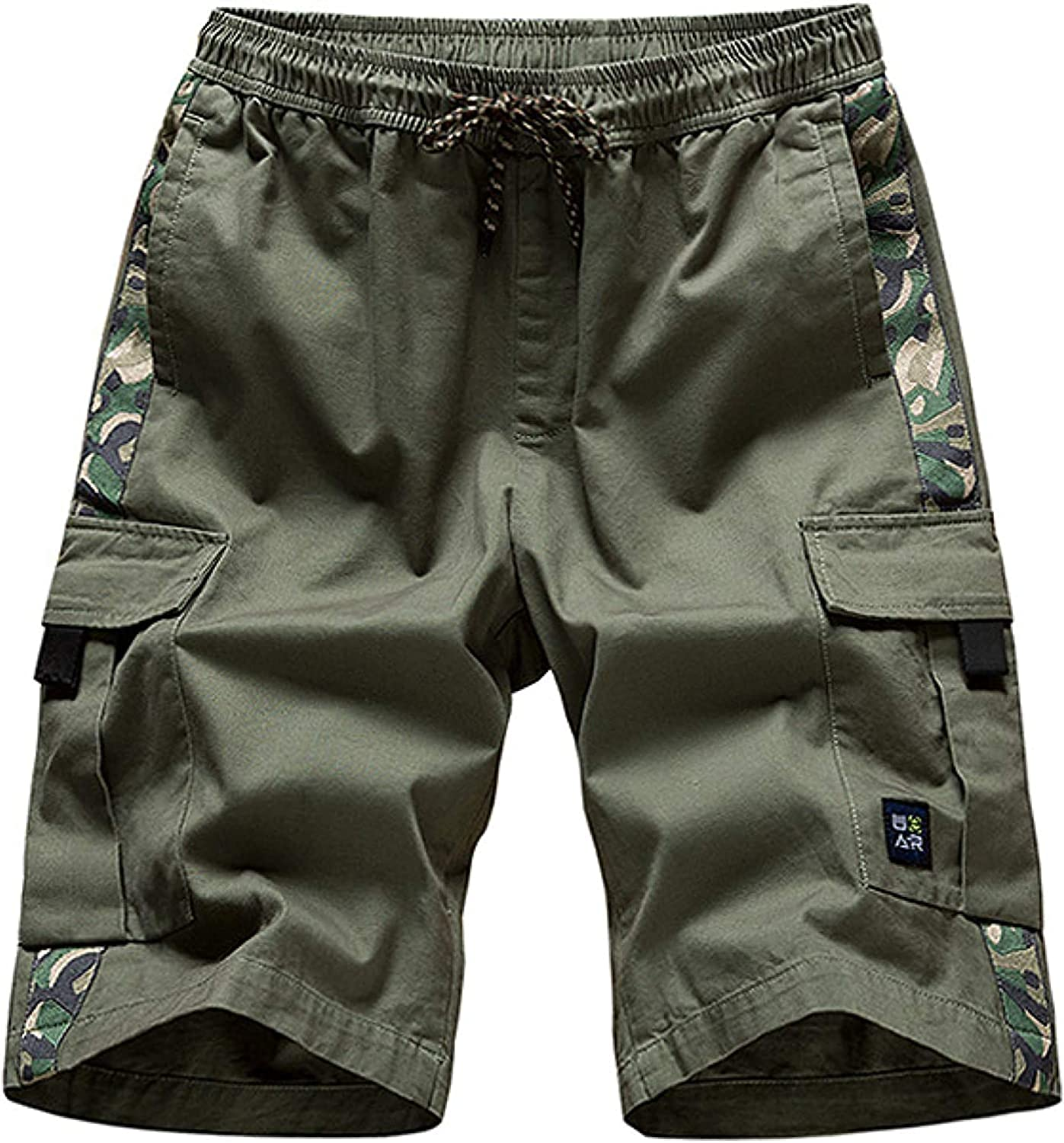 GHJX Men's Cargo Shorts Large Size Stitching Patchwork Trend Streetwear Personality Green