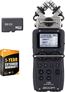 Zoom H5-4 Track Portable Audio Recorder for Music, Podcasts, Stereo Mic, and Video - 2 XLR/TRS Inputs, USB Audio Interface, Battery Powered + 1 Year Extended Warranty + 32 Micro SD Card