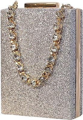 Glitzernde Abendtasche, kleine quadratische Tasche, Strass Diamant Griff, Hochzeit Party Geldbörse Handtasche für Frauen