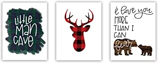 "Set of 3 Woodland Animal Nursery Cardstock Prints - 8x10"" Little Man Cave, Buffalo Plaid Deer Silhouette, I Love You More Than I Can Bear"