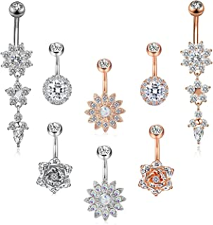 4-16 Pcs 14G Dangle Belly Button Rings for Women Girls Navel Barbell Body Jewelry Piercing 14G