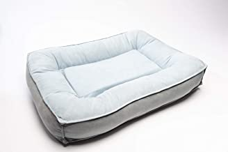 BarksBar Comfy Classic - Medium Orthopedic Dog Bed with Ultra Soft Bolster & Memory Foam Topper - Gray & Space Gray
