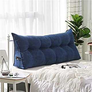 Roner Triangular Wedge Cushion Bed Backrest Pillow Upholstered Headboard Back Support for Sitting Up in Bed Bed Back Support for Reading Relaxing Navy King