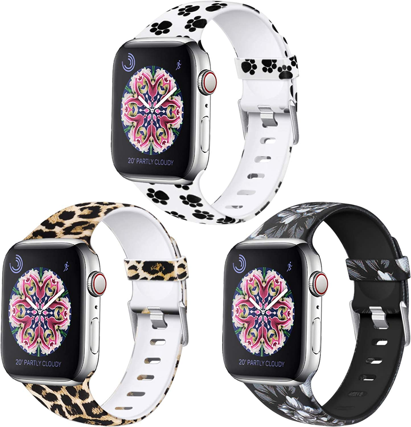 Laffav Compatible 3 Pack Bands with Apple Watch 41mm 40mm 38mm 45mm 44mm 42mm for Women Men, Soft Silicone Sport Pattern Replacement Strap Compatible with iWatch SE Series 7 & Series 6 5 4 3 2 1