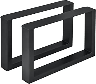 [en.casa] 2 x Conjunto de Patas de Mesa - Set de 2X Patas de Mesa - Metal - Patas de los Muebles - 64 x 40 cm - para Mesa de Centro - Armazón de Mesa - con protección para Suelo - Negro