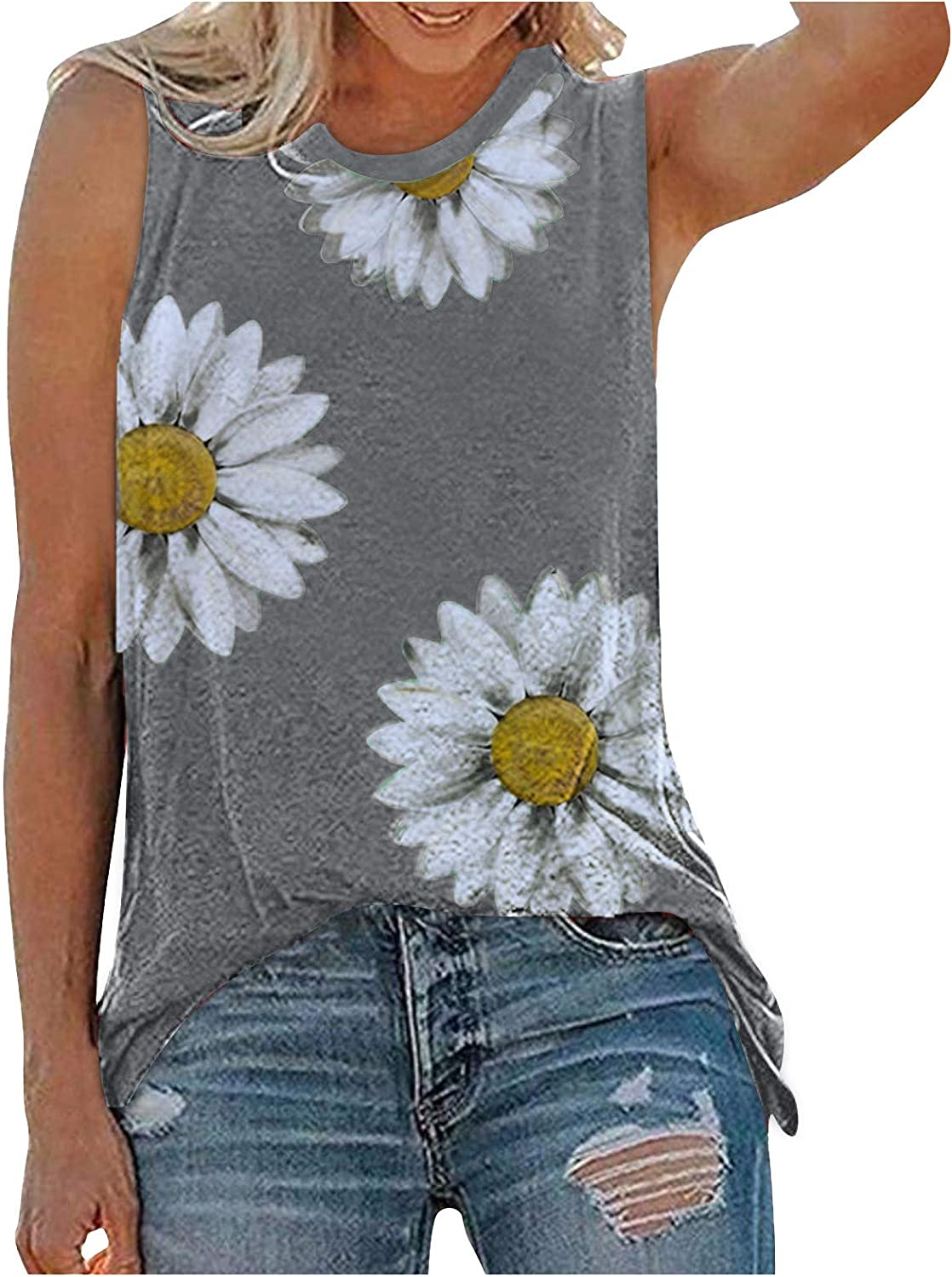 AODONG Tank Tops for Women, Womens Casual Summer Sleeveless Loose Fit Graphic Tank Vest Tees Shirts Blouses Tunics