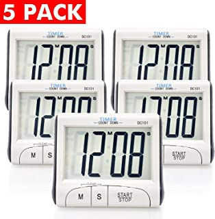 5 Pack Senbowe™ Digital Kitchen Timer/Cooking Timer with Large Display Screen, Loud Sounding Alarm, Strong Magnetic Backing, Retractable Stand