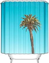 AMDXD Bath Curtain Elegant Coconut Tree Shower Curtains 3D Blue Polyester Bath Curtains Size 180x200CM