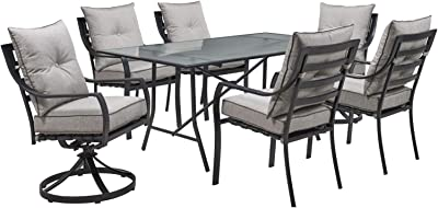 """Hanover LAVDN7PCSW2-SLV Lavallette 7-Piece Silver Linings with 4 Chairs, 2 Swivel Rockers, and a 66"""" x 38"""" Glass-Top Table Outdoor Dining Set"""