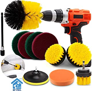 Drill Brush Attachment Set, Scrub Brush Power Scrubber Drill Brush Kit(11 Pieces), Scouring Pad All Purpose Cleaning Kit f...