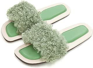 Whoyun Women's Fuzzy Slides Fluffy Slippers, Faux Teddy-Like Fur Open Toe Soft Sandal Indoor & Outdoor Slip On