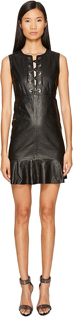 Sleeveless Tiefront Leather Dress
