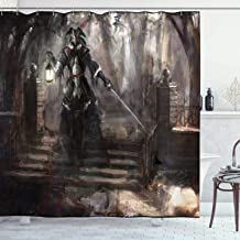 Ambesonne Fantasy World Decor Collection, Masked Pirate General Walking in Dark Forest with Lantern Medieval Theme Print, Polyester Fabric Bathroom Shower Curtain Set with Hooks, Black Brown