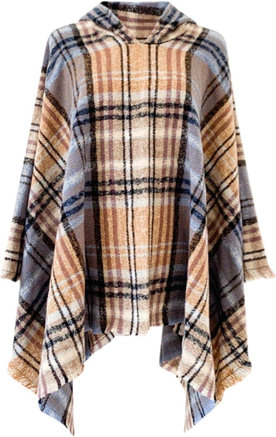 poncho e cardigan scialli invernali e fascia con nappe QingFang Poncho da donna a quadretti
