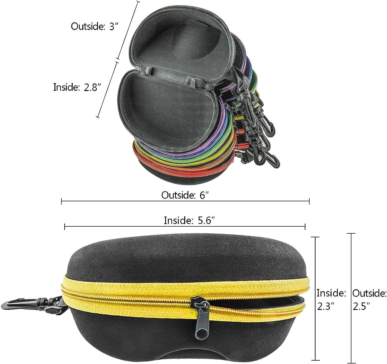 INNOLIFE Zipper Shell Sunglasses Glasses Case with Plastic Carabiner Hook