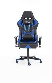 مقعد ألعاب BLITZED Budget Adonis مصنوع من الجلد الصناعي بدون وسادة للرأس ووسادة قطنية بدون مسند للقدم (أزرق)