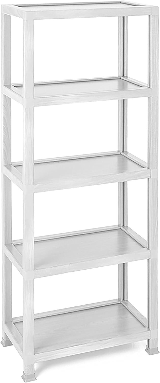 Way Basics WB-LDN4-WE Kensington 5 Tier Storage Shelf and Bookcase, White