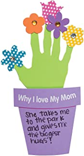 Fun Express Why I Love My Mother Handprint Flowers Gift (Mother's Day Craft Kits) Makes 12