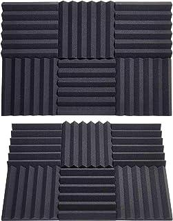 """Foam Board 2 """"x12"""" x12 """"Wedge Shape Wedge Shape و ضد صدا و تابلو جذب صدا برای استودیوی خانگی موسیقی صوتی درمان صوتی جذب صدا (24 بسته سیاه)"""