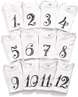 JumpOff Jo Baby Milestone Onesies, 12 Bodysuit Set, Seize The Moments, Numbers